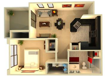 Almeria at Ocotillo A1 floor plan - 1 bedroom 1 bath - 3D